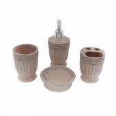 Stonware Vintage 4lü Pembe Desenli Banyo Seti