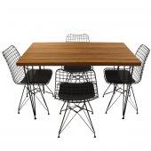 Viluxe Tel Ayaklı Ahşap Masa Sandalye Takımı Ceviz-2