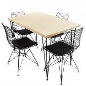 Viluxe Tel Ayaklı Ahşap Masa Sandalye Takımı Beyaz...