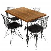 Viluxe Tel Ayaklı Ahşap Masa Sandalye Takımı Ceviz