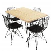 Viluxe Tel Ayaklı Ahşap Masa Sandalye Takımı Antik...