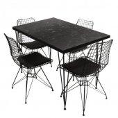 Viluxe Tel Ayaklı Ahşap Masa Sandalye Takımı Mermer Desenli