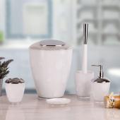 Akrilik 5 Parça Kromajlı Puantiyeli Banyo Takımı Beyaz