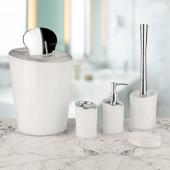 Akrilik 5 Parça Kromajlı Banyo Takımı Beyaz