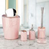 Akrilik 5 Parça Kromajlı Banyo Takımı Pembe