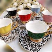 Tabağı Cicek Desenli 6 Lı Kahve Fincan Takımı,porselen Kahve Fincanı Takımı,türk Kahvesi Fincan Seti