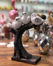 Polyester Dalda 3' Lü Kuşlar Dekoratif Biblo,dekoratif Dalda Kuş Obje