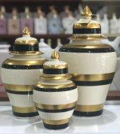 şah Küp 3' Lü Kapaklı Dekoratif Küp Seti,varaklı Vazo,dekoratif Obje,3 Boy Lüx Seramik Şah Vazo