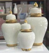 şah Küp 3' Lü Kapaklı Dekoratif Küp Seti,dama Kapaklı Vazo,dekoratif Obje,3 Boy Lüx Seramik Şah Vazo