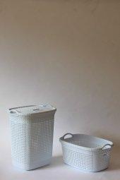 örgü Desenli Beyaz 2li Banyo Seti (Set 1)