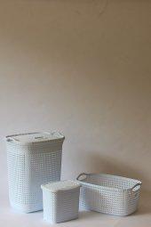 örgü Desenli Beyaz 3li Banyo Seti (Set 3)