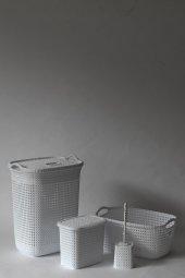 örgü Desenli Beyaz 4lü Banyo Seti (Set 4)