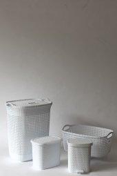 örgü Desenli Beyaz 4lü Banyo Seti (Set 5)