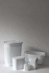 örgü Desenli Beyaz 5li Banyo Seti (Set 8)
