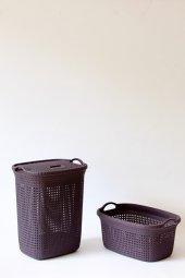 örgü Desenli Mürdüm 2li Banyo Seti (Set 1)