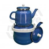 Verda Vintage Emaye Emaye Çaydanlık Mavi