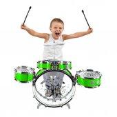 Jazz Drum Bas Pedallı Oyuncak Çocuk Baterisi Davul Seti