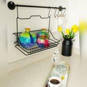 Siyah Mutfak Askısı Ve Sepeti Metal Askılı Ferforje Vip Sepet Ve Askı Seti Fintorp Model 20*30cm