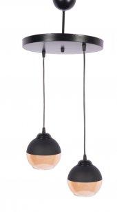 Mylight Retro İkili Sarkıt Avize Siyah Bal Cam 30 Cm