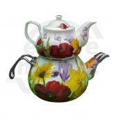 Emaye Porselen Çaydanlık Çiçek Desenli