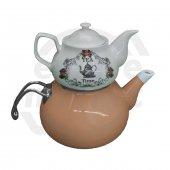 Emaye Porselen Çaydanlık Gül Kurusu