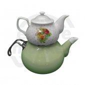 Emaye Porselen Çaydanlık Fıstık Yeşili