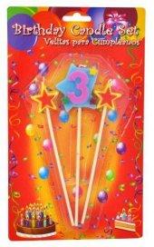 Balonevi 3 Yaş Yıldızlı Çubuklu Mum Paketli