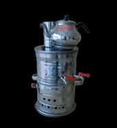 Semaver Çift Musluk Piknik Çay Semaveri Odunlu Demlikli 3 lt -2