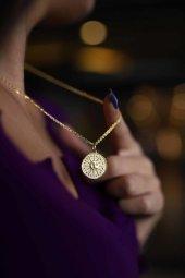 Taşsız Eskitme Güneş Motifli Gümüş Para Pirmoda Gümüş Kolye