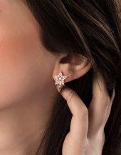Taşlı Rose Yıldız Pirmoda Gümüş Küpe