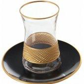 Dore Kabartmalı Şerit Desenli Cam Lüx Çay Bardağı Takımı Altın Yaldızlı Desenli Çay Seti