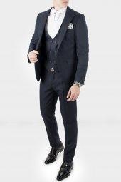 Deepsea Lacivert Kare Desenli İtalyan Kesim Takım Elbise 18000140