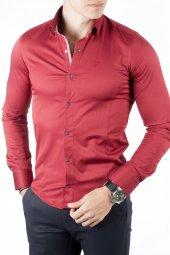 Deepsea Bordo Dar Kesim Çıtçıtlı Armalı Pamuk Saten Slim Fit Gömlek 1809018