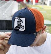 Deepsea Lacivert Turuncu Çerçeveli At Desen Ayarlanabilir Boyut Fileli Şapka 1908779