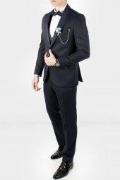 Deepsea Koyu Lacivert Kendinden Desenli Şifon Yaka Erkek Takım Elbise 1905000