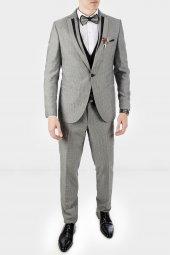 Deepsea Gri Kendinden Desenli Şifon Yaka Erkek Takım Elbise 1905000