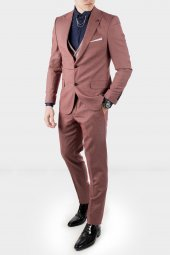 Deepsea Kiremit Rengi Kendinden Desenli Dar Kalıp Erkek Takım Elbise 1910953