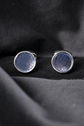 Deepsea Gri Lacivert Simetrik Desenli Taşlı Yuvarlak Kol Düğmesi 1901829