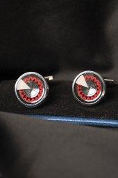 Deepsea Kırmızı Siyah Taşı Desenli Damatlık Kol Düğmesi 1901822