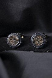 Deepsea Siyah Sarı Çelik Üzeri Motifli Kol Düğmesi 1901828