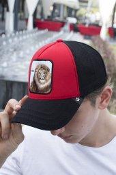 Deepsea Siyah Kırmızı Çerçeveli Aslan Desen Ayarlanabilir Boyut Fileli Şapka 1908786