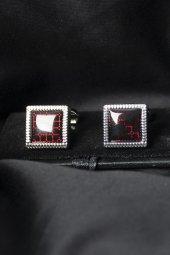 Deepsea Kırmızı Siyah Kare Desenli Kol Düğmesi 1901827