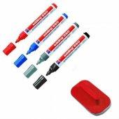 Edding 260 Silinebilir Yazı Tahtası Kalemi Board Marker 4 Renk Karışık + Tahta Silgisi