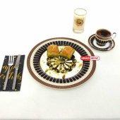 Siyah Beyaz Altın Yaldızlı Servis Pasta Tabak,6' Lı Altın Yaldızlı Servis Tabağı Takımı