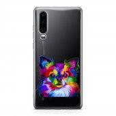 Huawei P30 Kılıf Silikon Arka Koruma Kapak Renkli Köpek Desenli