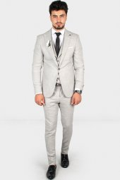 Deepsea Örme Kumaş Kırçıllı 3lü Takım Elbise 1900969