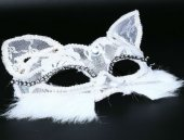 Dantelli Kedi Maskesi Beyaz