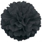 Kağıt Ponpon Çiçek Asma Süsü 25 Cm Siyah