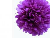 Kağıt Ponpon Çiçek Asma Süsü 25 Cm Mor