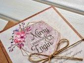 Kraft Çiçekli İpli Düğün Davetiyesi 100 Adet-2